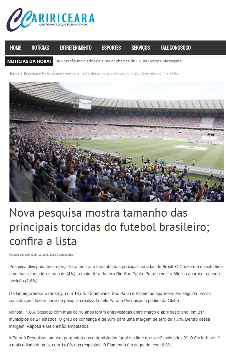 Cariri Ceara divulga pesquisa sobre os Times de Futebol ce75324a66878