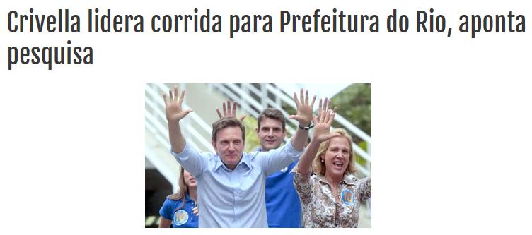 Blog Rio Das Ostras Jornal divulga pesquisa sobre a disputa eleitoral para o Município do Rio de Janeiro