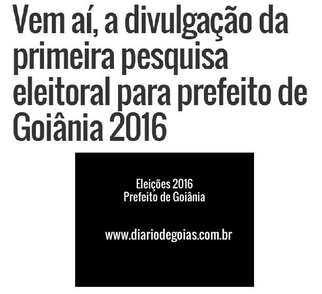 Diário De Goiás – Colunista Altair Tavares, comenta sobre a divulgação da primeira pesquisa Eleitoral para Prefeito de Goiânia