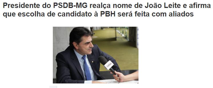 PSDB – MG comenta a pesquisa realizada em Belo Horizonte sobre a intenção de voto dos eleitores para a Prefeitura