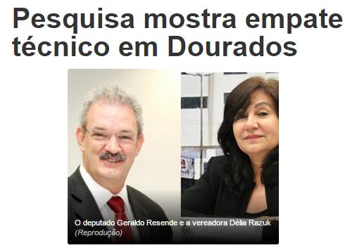 JD1 Notícias.Com, divulga pesquisa sobre a disputa eleitoral à Prefeitura de Dourados/ MS