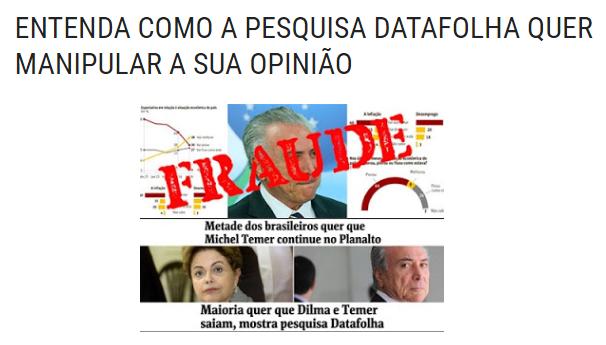 Blog Sou Daqui Manga, comenta pesquisa sobre a opinião dos Brasileiros para novas eleições Presidenciais