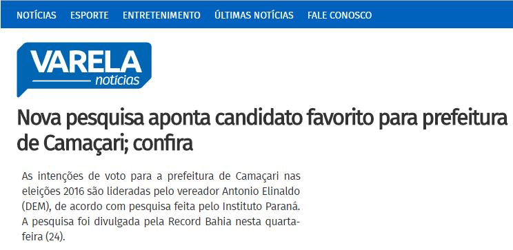 Portal Varela Notícias divulga pesquisa sobre a disputa eleitoral a Prefeitura de Camaçari