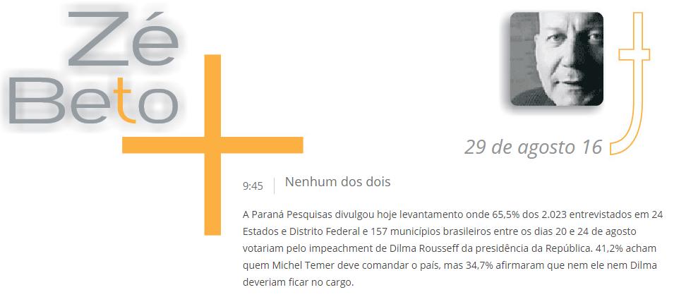 Blog Do Zé Beto divulga pesquisa com a opinião dos brasileiros sobre o afastamento da Presidente Dilma Rousseff