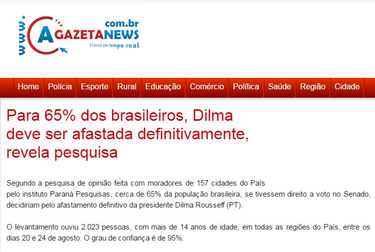 A Gazeta News divulga pesquisa com a opinião dos brasileiros sobre o afastamento da Presidente Dilma Rousseff