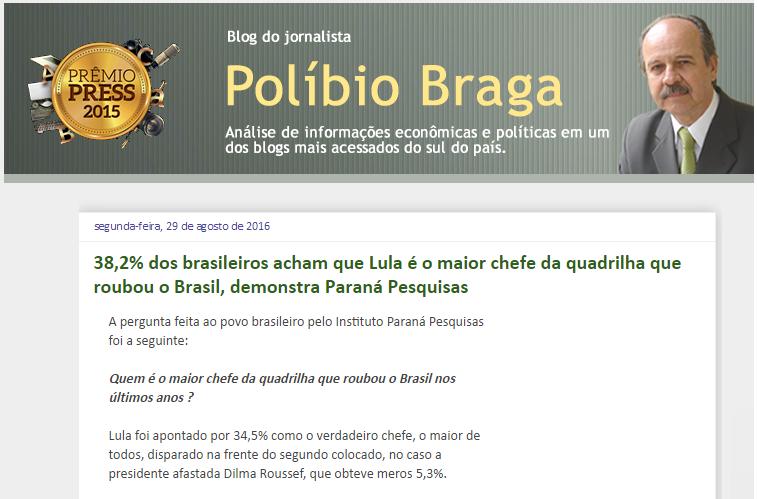 Blog Do Políbio Braga divulga pesquisa com a opinião dos brasileiros sobre o maior chefe da quadrilha que roubou o Brasil