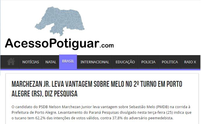 Acesso Potiguar divulga pesquisa de 2º turno sobre a disputa eleitoral a Prefeitura de Porto Alegre – RS