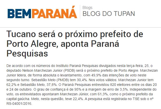 Bem Paraná – Blog Do Tupan divulga pesquisa de 2º turno sobre a disputa eleitoral a Prefeitura de Porto Alegre – RS