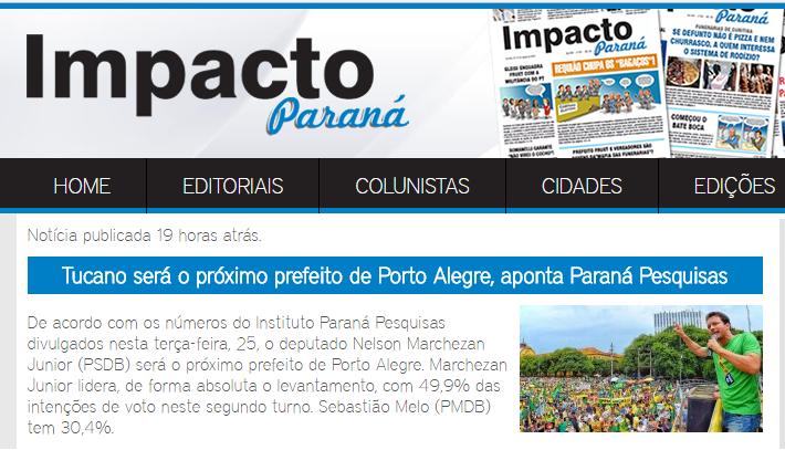 Jornal Impacto Paraná divulga pesquisa de 2º turno sobre a disputa eleitoral a Prefeitura de Porto Alegre – RS