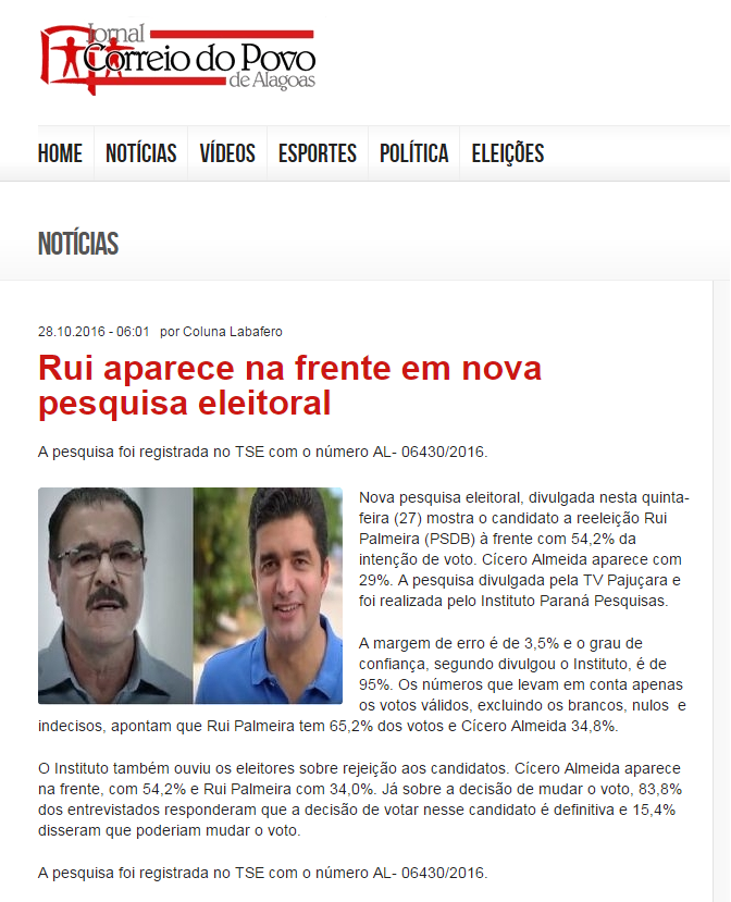 4e6a5e6360 Jornal Correio Do Povo De Alagoas divulga pesquisa de 2º turno sobre ...