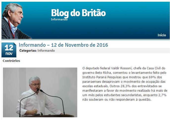 V Vale – Blog Do Britão comenta em matéria pesquisa realizada no Estado do Paraná pela Paraná Pesquisas
