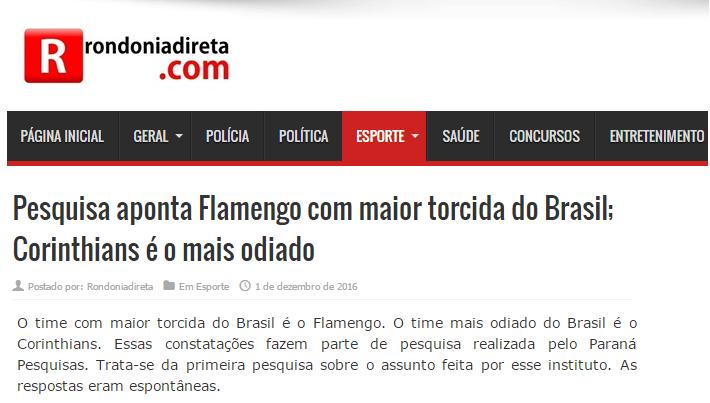 Rondonia Direta.Com comenta em matéria pesquisa realizada pela Paraná Pesquisas