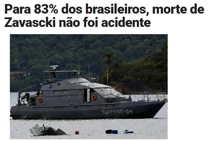 Veja.com divulga pesquisa realizada pela Paraná Pesquisas sobre o acidente aéreo com o Ministro do STF