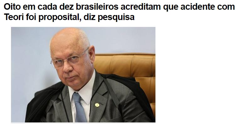 Portal R7 Notícias divulga pesquisa realizada pela Paraná Pesquisas sobre o acidente aéreo com o Ministro do STF