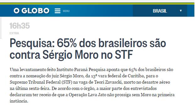 Jornal O Globo divulga pesquisa realizada pela Paraná Pesquisas sobre o Juiz Sérgio Moro