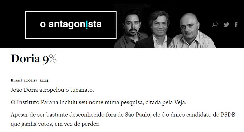 O Antagonista divulga pesquisa com a opinião dos brasileiros sobre as eleições Presidencias em 2018
