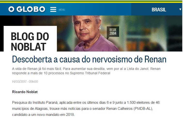 O Globo – Blog do Noblat divulga pesquisa realizado em Alagoas sobre a disputa eleitoral para o Senado Federal