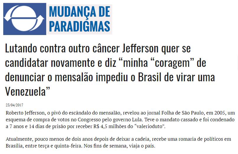 Mudança de Paradigmas cita pesquisa realizada pela Paraná Pesquisas no Estado de São Paulo