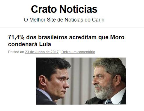 Crato Notícias divulga pesquisa realizada pela Paraná Pesquisas com a opinião dos Brasileiros sobre o Caso do Triplex