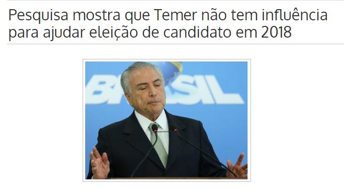 Itarantim News 24 Horas divulga pesquisa nacional realizado pela Paraná Pesquisas sobre o Presidente Michel Temer