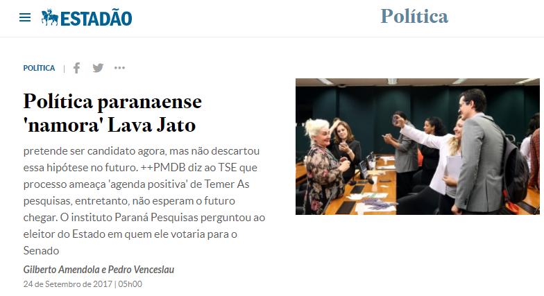 O Estadão cita pesquisa realizada pela Paraná Pesquisas sobre a possibilidade de Dallagnol na política