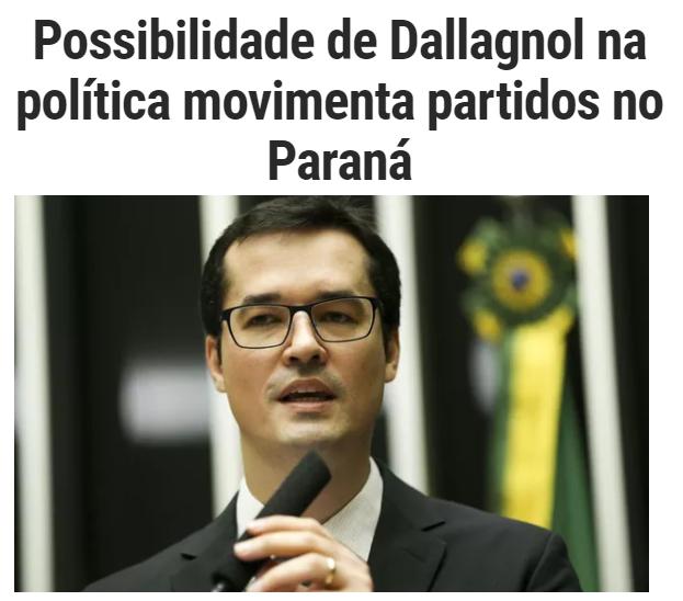 Época Negócios divulga pesquisa realizada pela Paraná Pesquisas sobre a possibilidade de Deltan Dallagnol na política