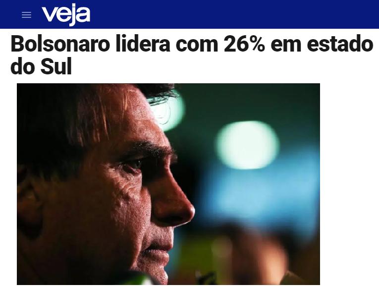 Veja.com – Coluna Radar divulga pesquisa realizada no Estado de Santa Catarina sobre a disputa eleitoral para Presidente do Brasil