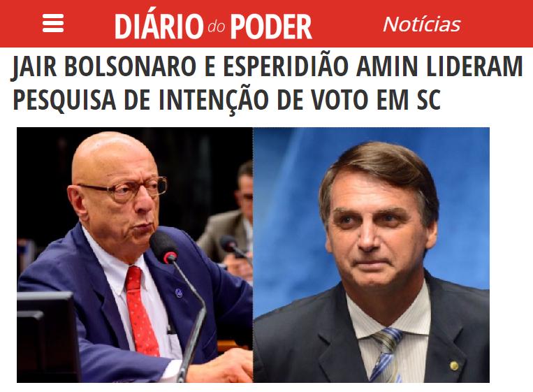 Diário do Poder divulga pesquisa realizada no Estado de Santa Catarina sobre a disputa eleitoral para Presidente e para Governador