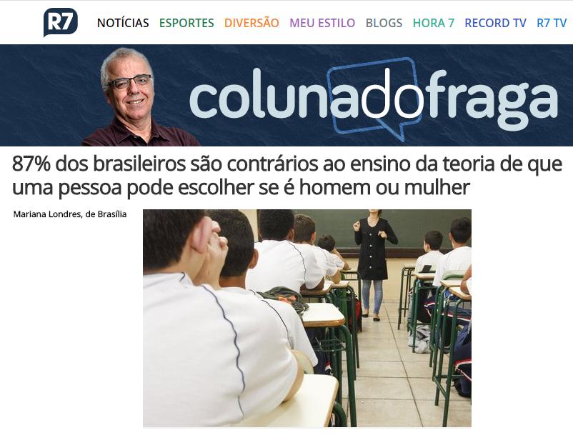 Portal R7 Notícias – Coluna do Fraga divulga pesquisa nacional realizado pela Paraná Pesquisas sobre a ideologia de gênero nas escolas