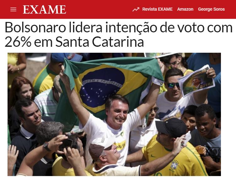 Revista Exame divulga pesquisa realizada no Estado de Santa Catarina sobre a disputa eleitoral para Presidente do Brasil