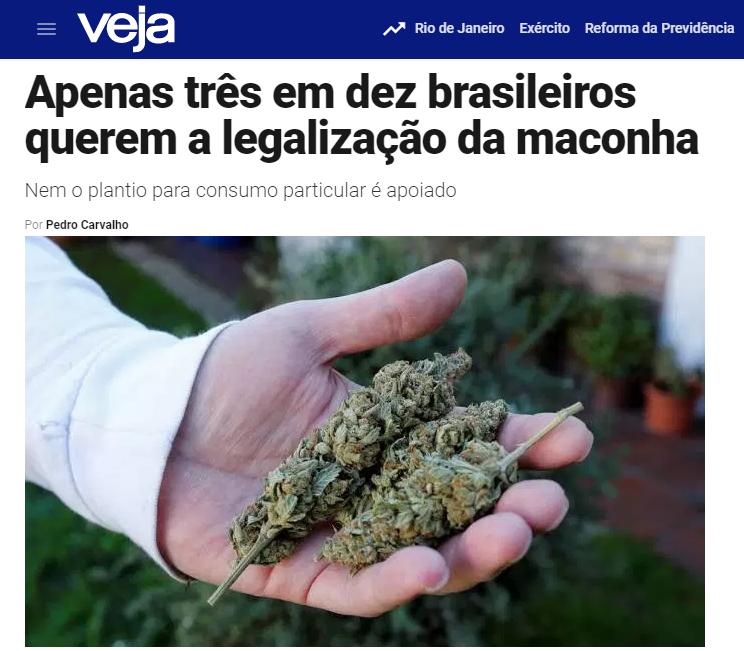 Veja.com – Coluna Radar divulga pesquisa nacional realizado pela Paraná Pesquisas sobre a legalização da maconha no Brasil