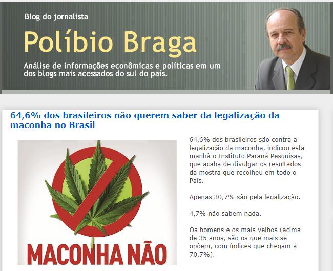 Políbio Braga divulga pesquisa nacional realizado pela Paraná Pesquisas sobre a legalização da maconha no Brasil