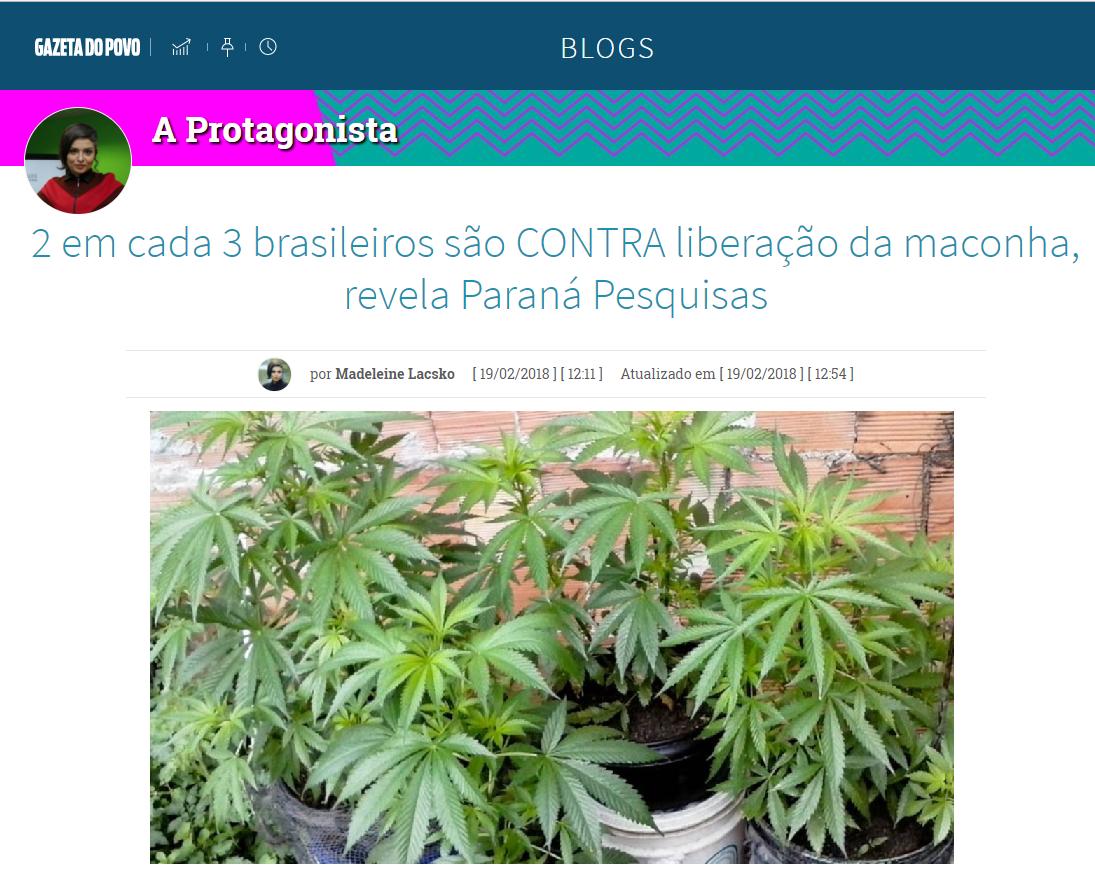 Gazeta do Povo divulga pesquisa nacional realizado pela Paraná Pesquisas sobre a legalização da maconha no Brasil
