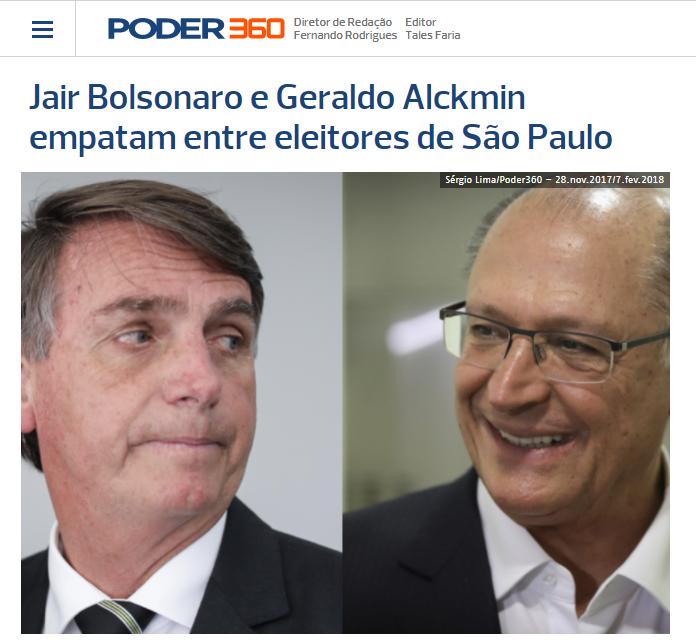 Poder 360 divulga pesquisa realizada no Estado de São Paulo sobre a disputa eleitoral para Presidente do Brasil