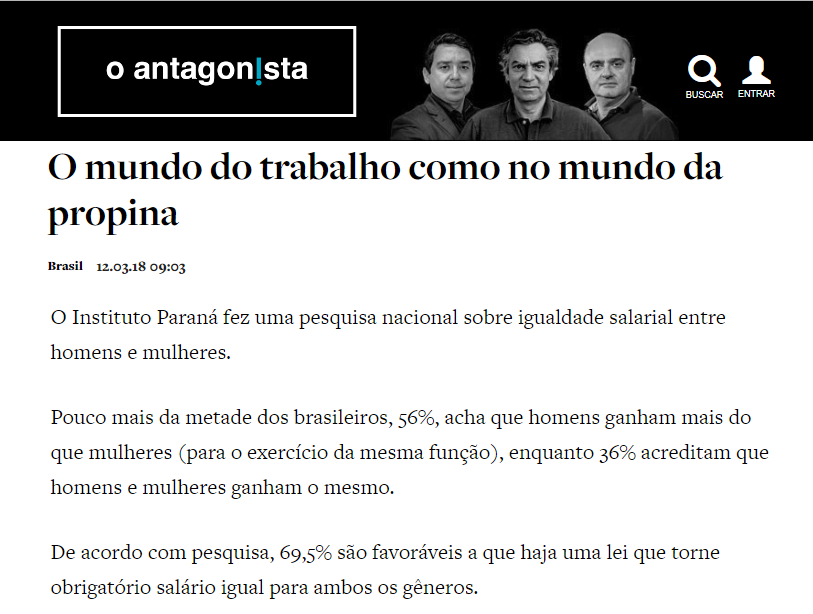 O Antagonista divulga pesquisa realizada pela Paraná Pesquisas sobre igualdade salarial entre Homens e Mulheres