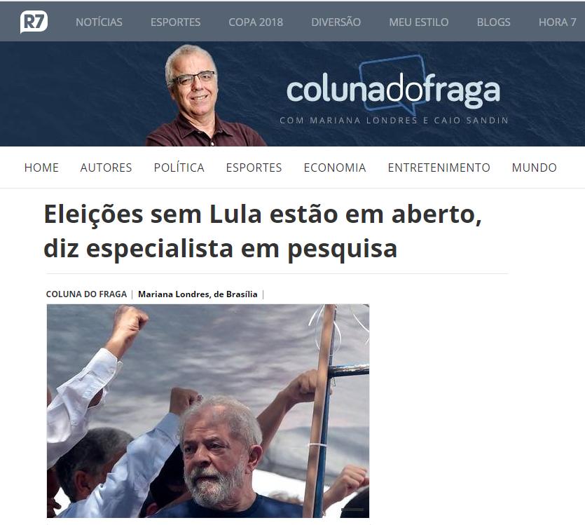 Portal R7 Notícias – Coluna do Fraga cita em matéria entrevista com o Diretor do Instituto Paraná de Pesquisas