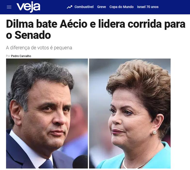 Veja.com – Coluna Radar divulga pesquisa realizada no Estado de Minas Gerais sobre a disputa eleitoral para Senador(a)