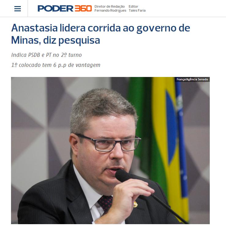 Poder 360 divulga pesquisa realizada no Estado de Minas Gerais sobre a disputa eleitoral para Governador do Estado