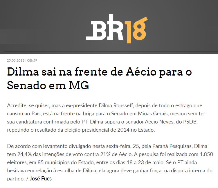 Portal BR18 divulga pesquisa realizada no Estado de Minas Gerais sobre a disputa eleitoral para Senador(a)