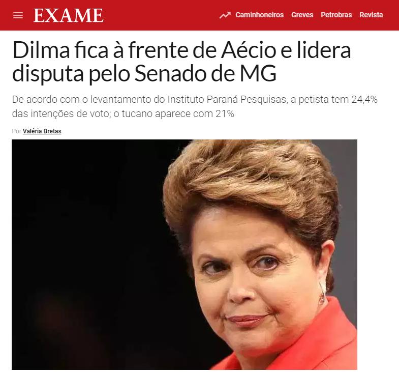 Revista Exame divulga pesquisa realizada no Estado de Minas Gerais sobre a disputa eleitoral para Senador(a)