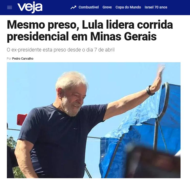 Veja.com – Coluna Radar divulga pesquisa realizada no Estado de Minas Gerais sobre a disputa eleitoral para Presidente do Brasil
