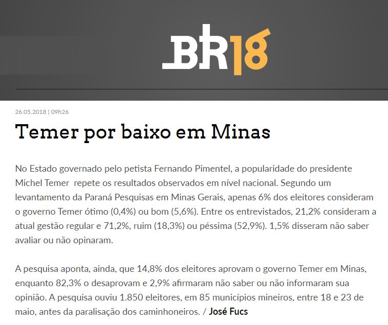 Portal BR18 divulga pesquisa realizada no Estado de Minas Gerais sobre a disputa eleitoral para Presidente do Brasil