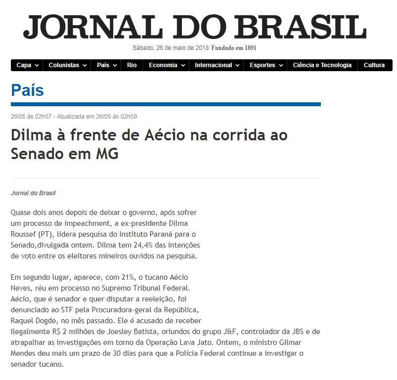 Jornal do Brasil divulga pesquisa realizada no Estado de Minas Gerais sobre a disputa eleitoral para Senador(a)
