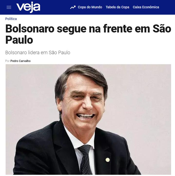 Veja.com – Coluna Radar divulga pesquisa realizada no Estado de São Paulo sobre a disputa eleitoral para Presidente do Brasil
