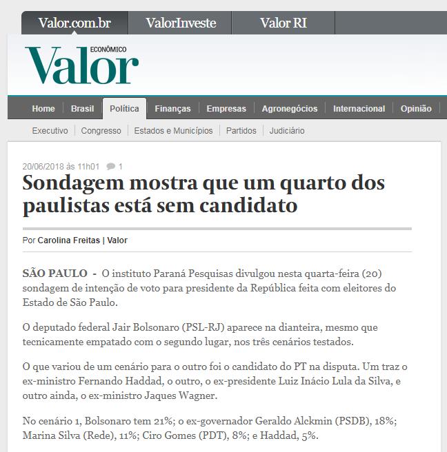 Valor Econômico divulga pesquisa realizada no Estado de São Paulo sobre a disputa eleitoral para Presidente do Brasil