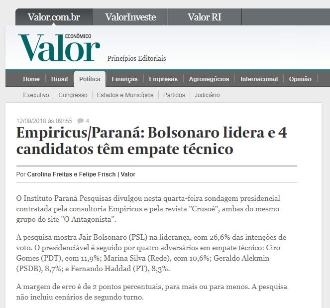 Valor Econômico divulga pesquisa nacional realizado pela Paraná Pesquisas sobre a disputa eleitoral para Presidente do Brasil