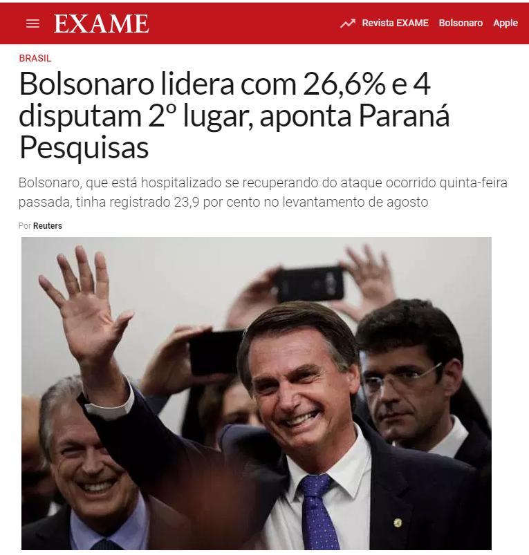 Revista Exame divulga pesquisa nacional realizado pela Paraná Pesquisas sobre a disputa eleitoral para Presidente do Brasil