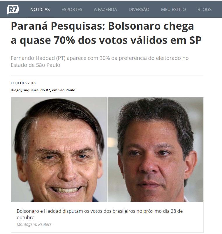 Portal R7 Notícias divulga pesquisa realizado no Estado de São Paulo sobre o SEGUNDO TURNO das eleições para Presidente do Brasil