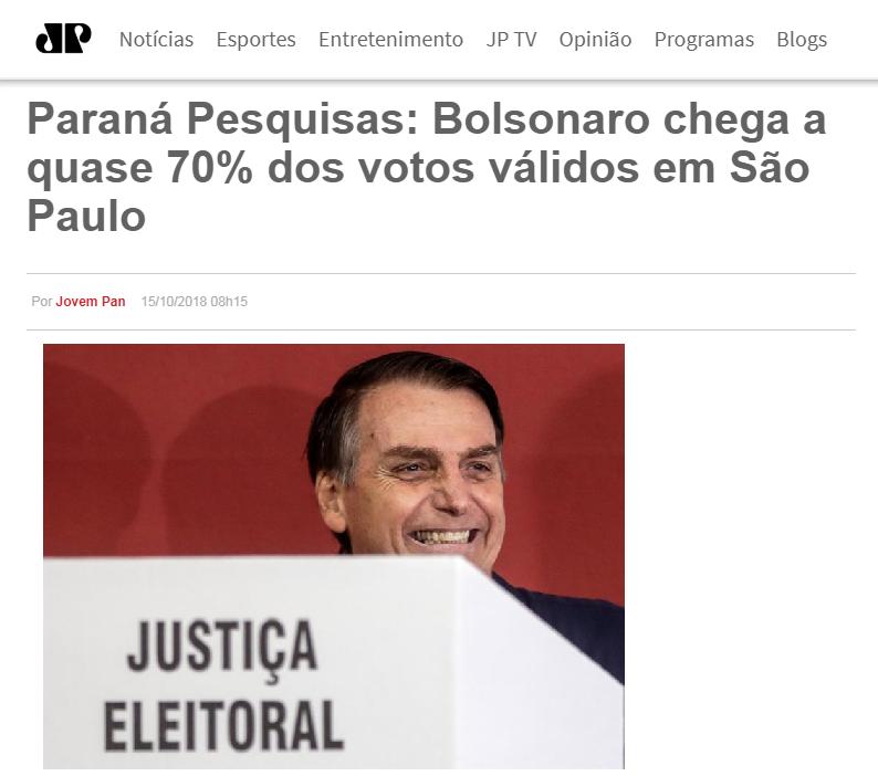 Jovem Pan divulga pesquisa realizado no Estado de São Paulo sobre o SEGUNDO TURNO das eleições para Presidente do Brasil