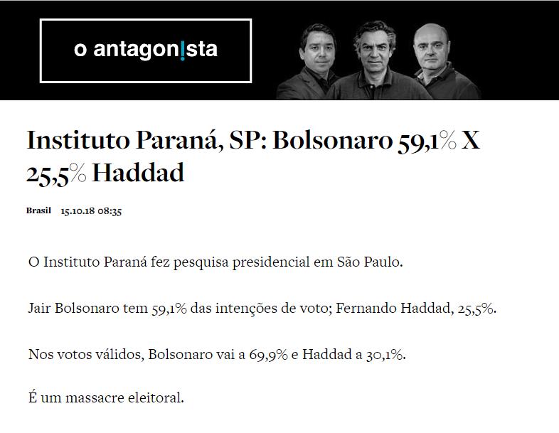 O Antagonista divulga pesquisa realizado no Estado de São Paulo sobre o SEGUNDO TURNO das eleições para Presidente do Brasil